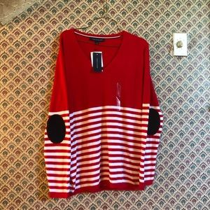NWT Tommy Hilfiger Classic V neck Striped Sweater